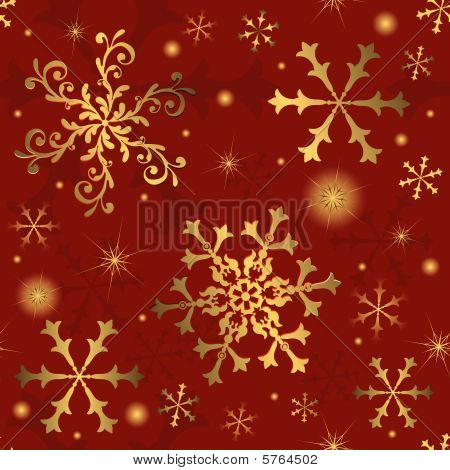 Abstract Christmas red seamless  background  with snowflakes (vector) poster