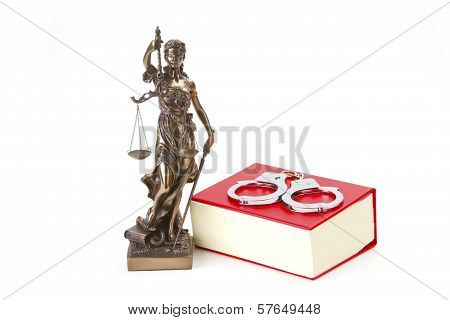 Justice Law And Justice With Handcuffs
