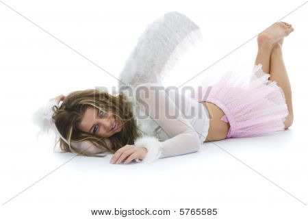 Beautiful woman with wings on isolated background poster
