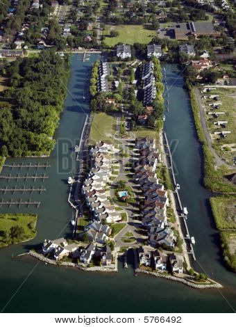 Waterfront Neighborhood Aerial