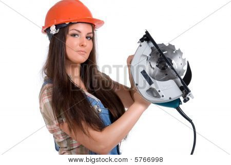 Woman and circular saw