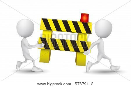 Two People Carried A Roadblock