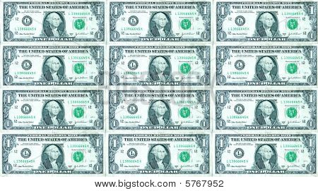 USA one dollar bills