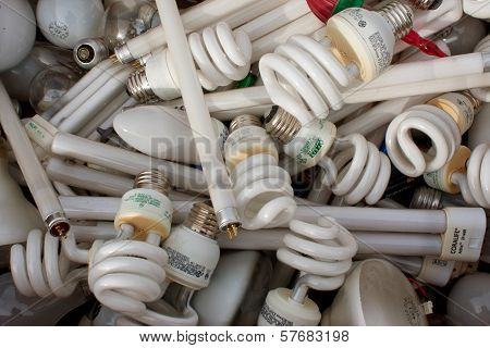 Discarded Light Bulbs Fill Box At Recycling Event