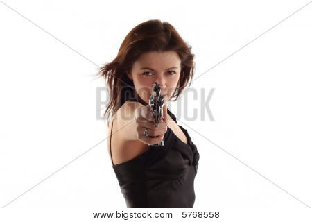 Young Woman With Revolver Isolated On White Background