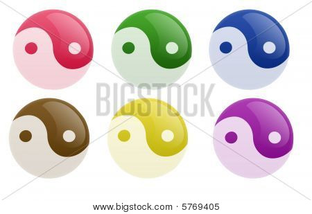 Glossy Yin Yang Button