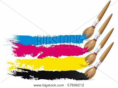 CMYK design - brushes and paint