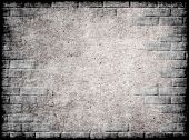 Monochrome grungy background with wall and brick frame.Digitally generated image. poster