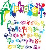 Hand drawn alphabet - letters are made of water colors ink splatter paint splash font. poster