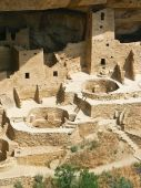 A section of the massive Mesa Verde Cliff Palace abandoned by the Anasazi Culture seven centuries ago in Southwestern Colorado. poster