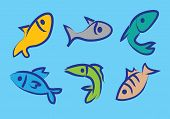 Six vector illustration of colorful fishes in paint brush effect. poster