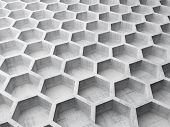 Gray concrete honeycomb structure background pattern. 3d illustration poster