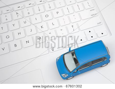 Small car on the keyboard