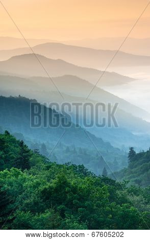 Great Smoky Mountain Oconaluftee River Valley Overlook Sunrise