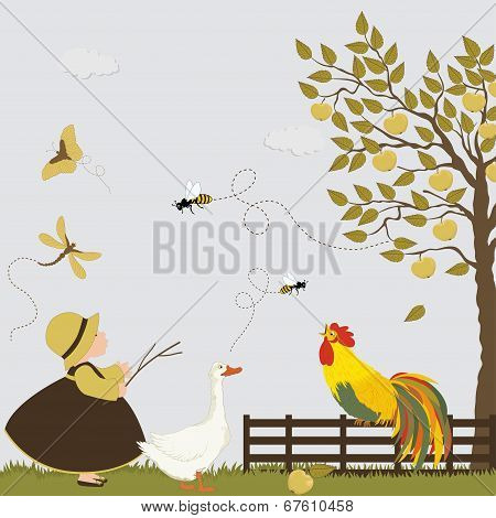 Cute Girl With Goose, Cock, Bee And Butterflies In The Orchard With Apple Trees