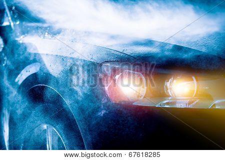 High Rain Car Driving