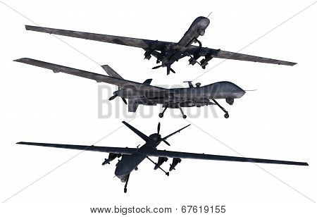 Unmanned Military Drones Isolated on Solid White Background. Military Technology. poster