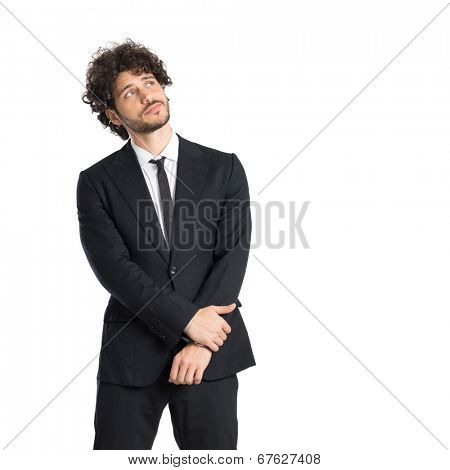 Young Man Daydreaming Isoalted On White Background