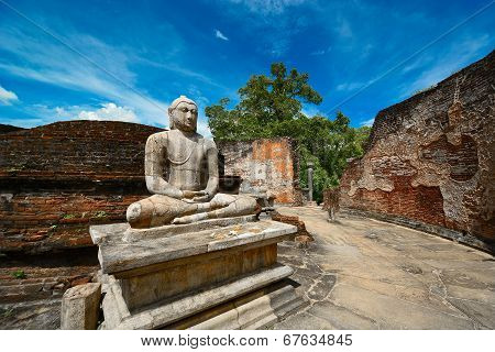 Historical Polonnaruwa capital city ruins in Srilanka