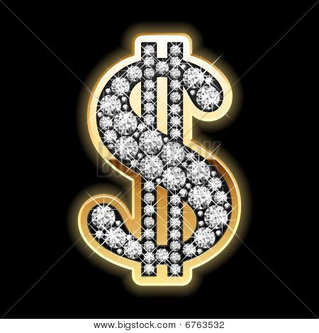 Bling-bling. Dollar symbol in diamonds. Detailed vector.