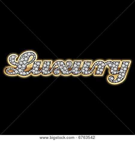"Detailed vector illustration of word ""Luxury"" in diamonds poster"