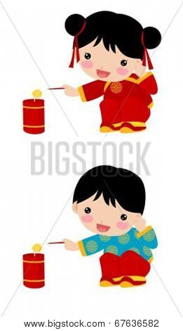Chinese children and firecrackers