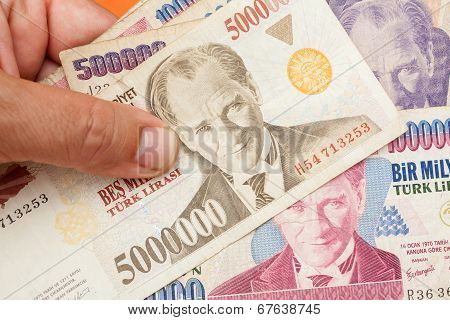 Close up of old banknote. Issued to honor Mustafa Kemal Ataturk who founder Turkish Republic poster