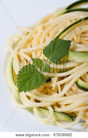 Italian Pasta Spaghetti With Zucchini And Mint Macro