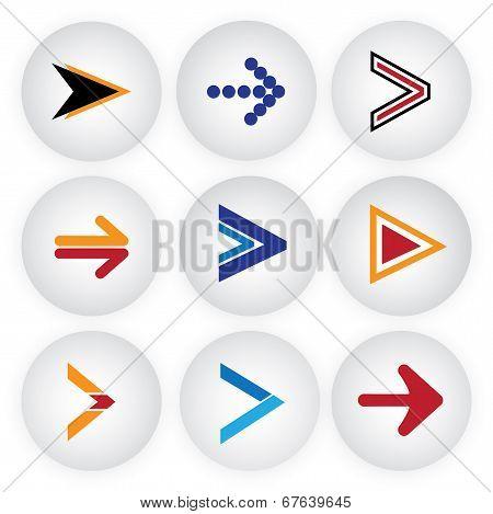 Arrow Sign & Symbol Button Vector Icons Set.