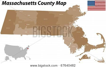 Massachusetts County Map