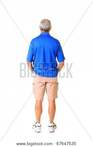A genuine Male Human Being standing with his back towards you the viewer, isolated on white with room for your text