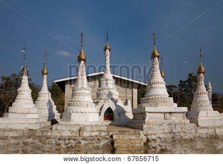 White Buddhist Stupas. Indein