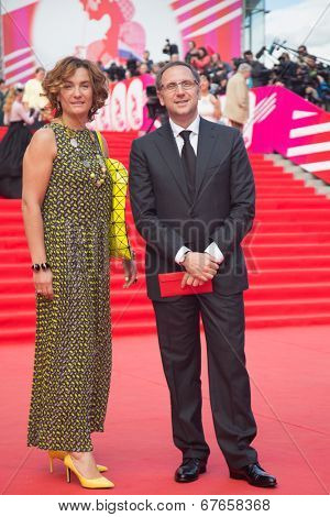 MOSCOW - JUNE, 19: Yuliana Slashcheva and Vyacheslav Murugov, 36th Moscow International Film Festival. Opening Ceremony at Pushkinsky Cinema . June 19, 2014 in Moscow, Russia