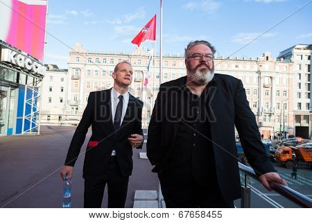 MOSCOW - JUNE, 19:Actor Kristian Nairn (Hodor, Game of Trones)and actor Y. Kolokolnikov, 36th Moscow International Film Festival. Opening Ceremony at Pushkinsky Cinema . June 19, 2014 in Moscow, Russia
