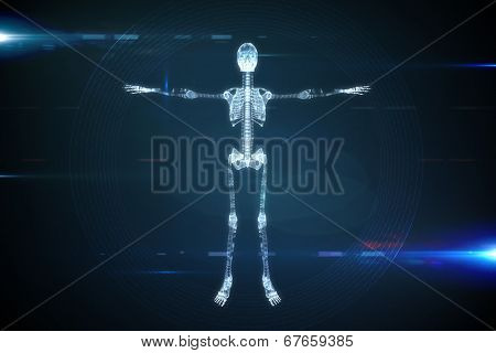 Digitally generated skeleton graphic on black and blue