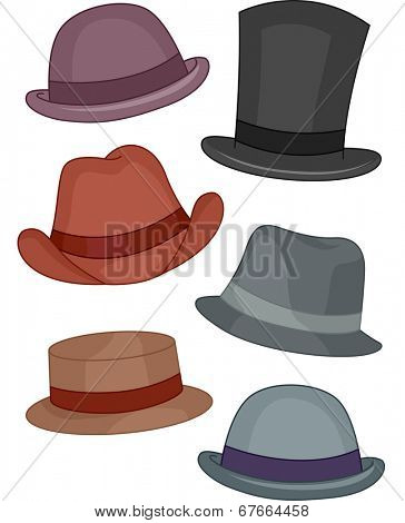 Illustration Featuring Different Types of Men's Hats