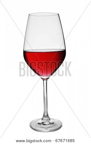 a glass with red wine on a white background