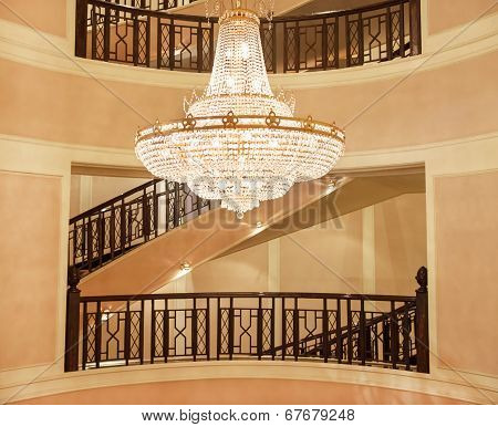 Beautiful Crystal Chandelier In A Roombeautiful Crystal Chandelier