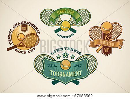 Set of vintage styled tennis club labels. Editable vector illustration.