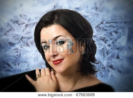 Face Portrait Of Woman With Vedic Patterns