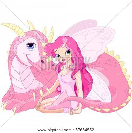 Beautiful Magic Dragon and Beautiful Fairy