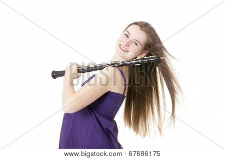 Girl With Oboe Against White Background