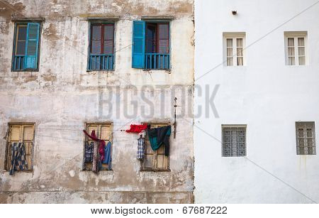 Old living house wall in Medina of Tangier Morocco poster