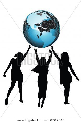 Girls And Globe
