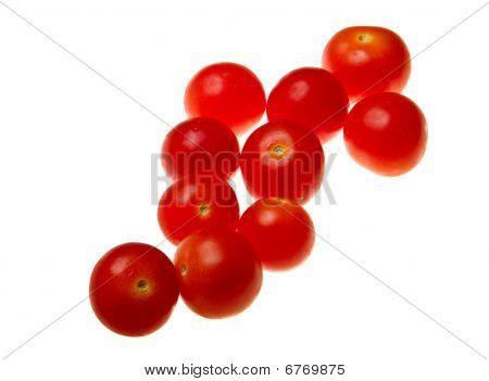 Cherry Tomatoes Isolated On White Background