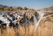 Long exposure of Epupa waterfalls in summer time, the border of Angola and Namibia poster