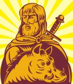 illustration of Frey the Norse god of agriculture with sword and boar poster
