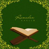 Open religious islamic book Quran Shareef on golden floral decorated green background for holy month of Muslim community Ramadan Kareem. poster