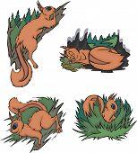 Life of comic squirrels. Set of vector illustrations. poster