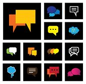 chat or speech bubbles vector icons set on black background. This graphic also represents people speaking online talk social media interaction community engagement group talk chit chat poster